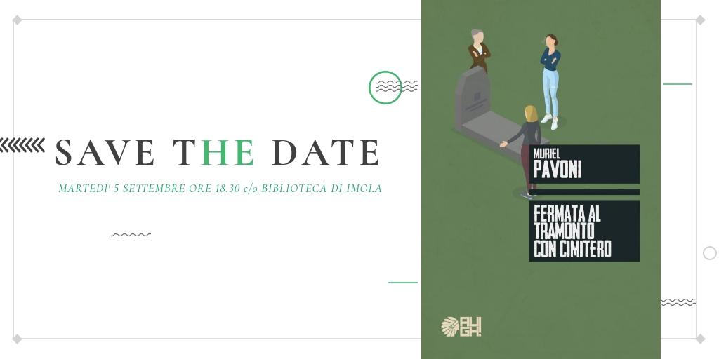 """<p>Martedì 5 settembre presso la Biblioteca comunale di Imola alle 18.30 PerLeDonne, insieme all&#8217;associazione &#8220;Università Aperta&#8220;, presenterà il libro """"Fermata al tramonto con cimitero"""" della scrittrice imolese Muriel Pavoni, edito da Edizioni Augh. Dialoga con l&#8217;autrice la giornalista Lara Alpi. Una donna, nel mezzo una crisi personale, s'imbatte nell'ultimo viaggio [&hellip;]</p>"""